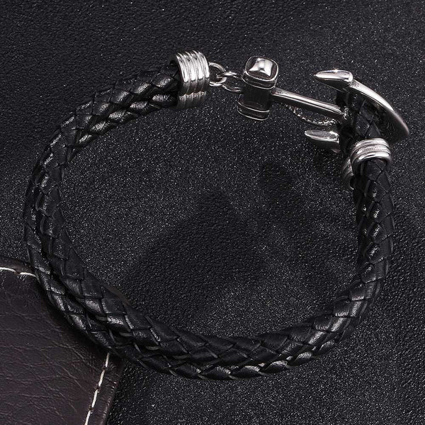 Ship Anchor Braided Leather Bracelet - Black, Silver