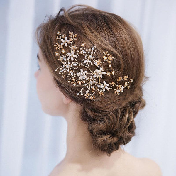 Floral Wedding Hair Decoration, Handmade Gold Crystal Bride Hair Clip for Wedding Accessories-Clickmylife