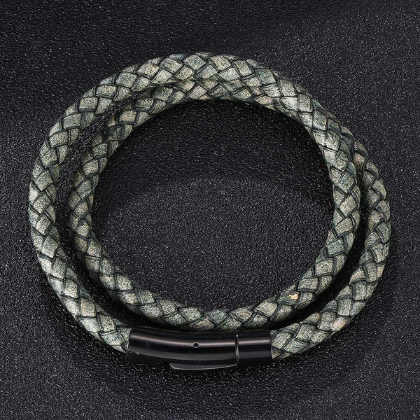 Leather Rope Bracelet - Green-Clickmylife