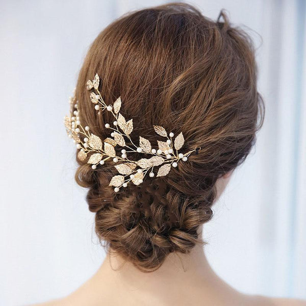 Floral Pearl Wedding Hair Decoration, Handmade Gold Leaves Bride Hair Clip for Wedding Accessories