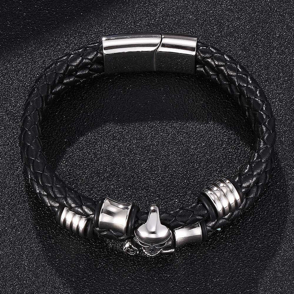 Leather Rope Braided Bracelet - Skull-Clickmylife