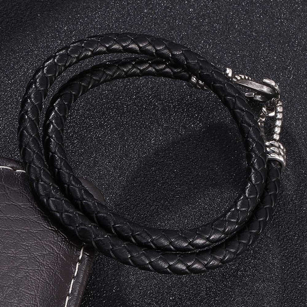 Mini Anchor Braided Leather Bracelet - Black, Silver