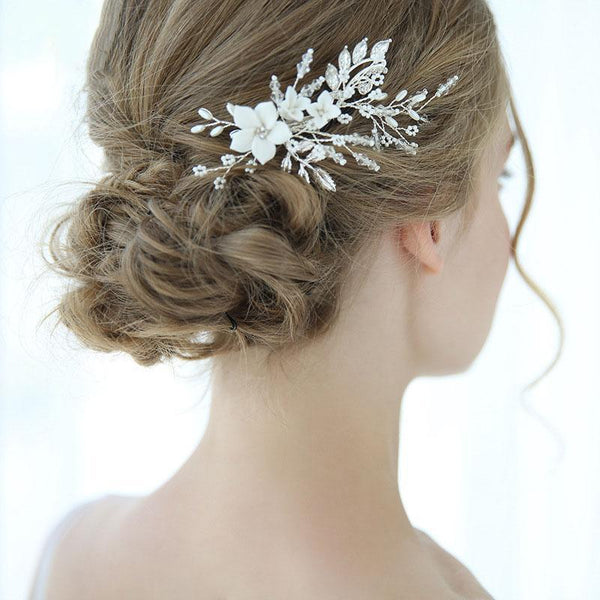 Floral Pearl Wedding Hair Decoration, Handmade Silver Leaves Bride Hair Clip for Wedding Accessories