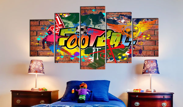 Tableau toile de décoration motif football graffiti 100x50cm DEC110020/2