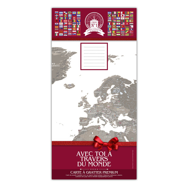 Carte du monde à gratter marron avec tube de transport motif rouge love 100x50 cm CAG110009