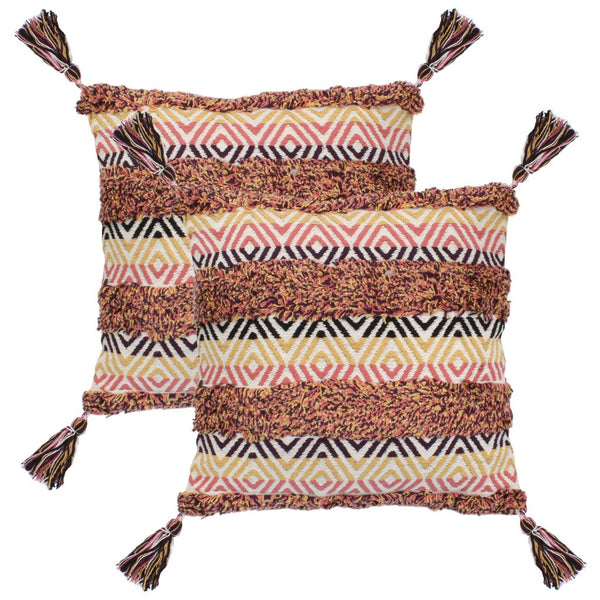 Lot de 2 coussins avec glands style bohémien multicolore 60x60 cm DEC021084