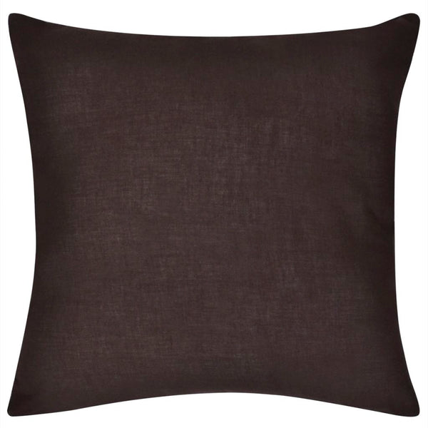 Lot de 4 housses de coussin marron en coton 50 x 50 cm DEC020030