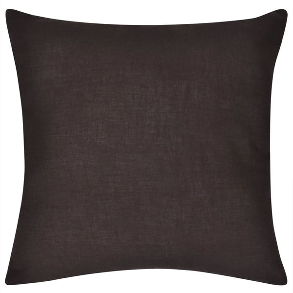 Lot de 4 housses de coussins taies d'oreiller en coton 80 x 80 cm marron DEC020031