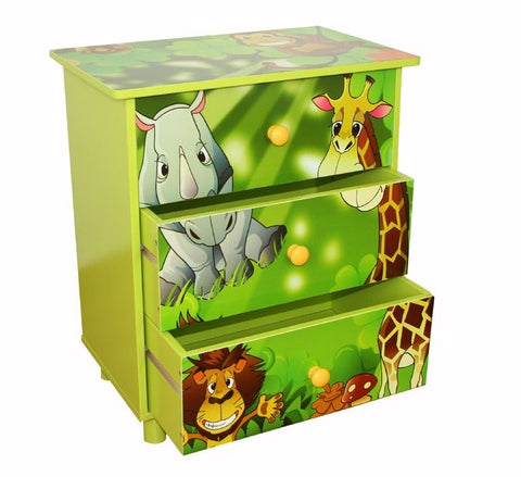 Commode 3 tiroirs chambre enfant motif jungle 48x57x30cm APE06021