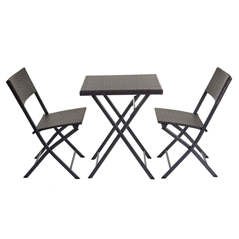 Ensemble table et chaises de balcon jardin en poly-rotin marron pliable MDJ04152