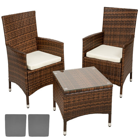 Set 2 chaises et table de jardin en polyrotin marron MDJ08003