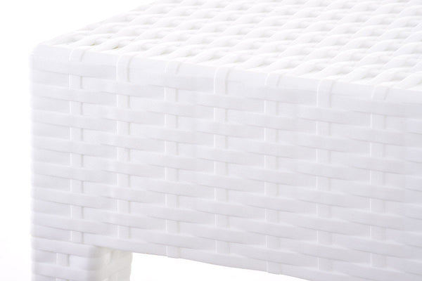 Table basse de jardin rectangle étanche en plastique blanc 53x92x45 cm MDJ10031