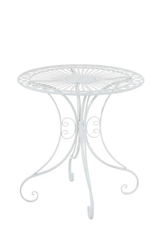 Table de jardin en fer forgé diamètre Ø 70 cm blanc MDJ10049