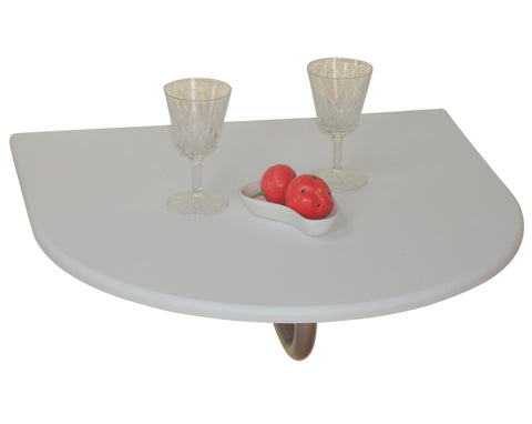 Table pliante murale demi-ronde en MDF blanc DEC05016
