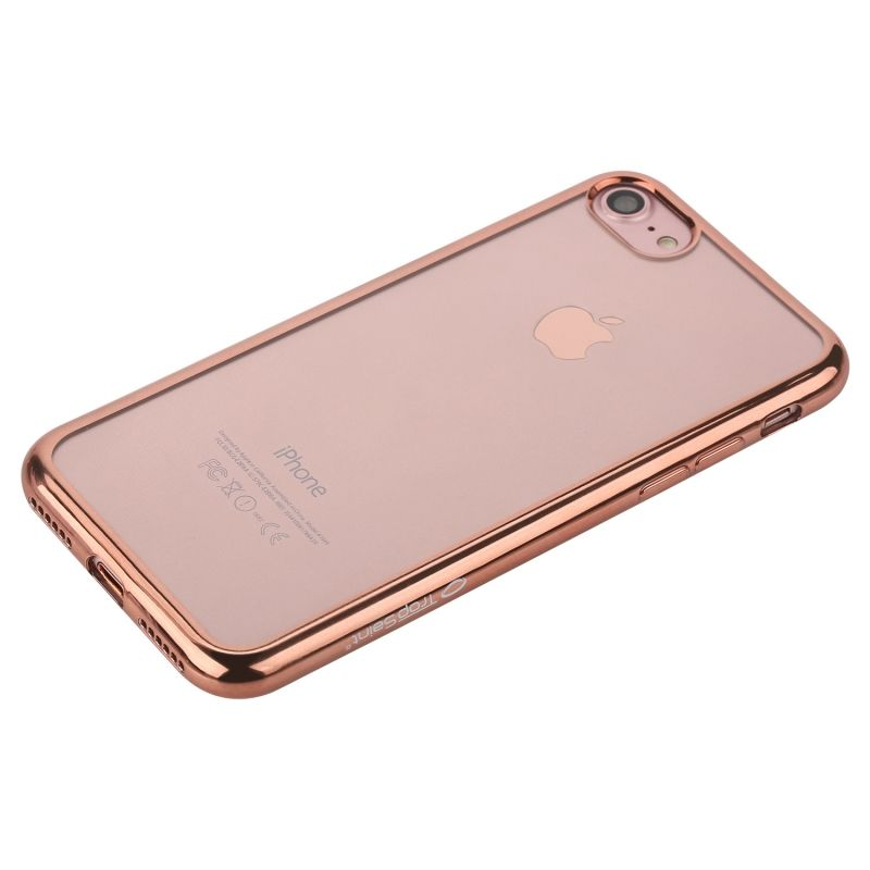 Coque en Silicone Transparente - pour iPhone - Contour Or Rose