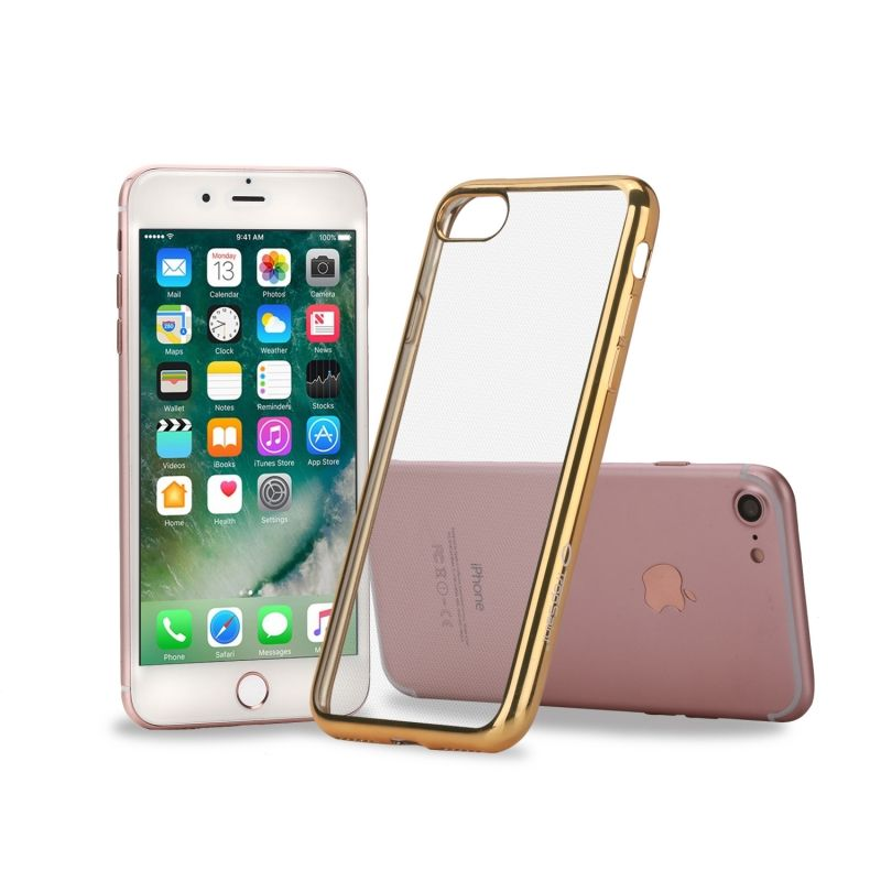 Coque en Silicone Transparente - pour iPhone - Contour Or
