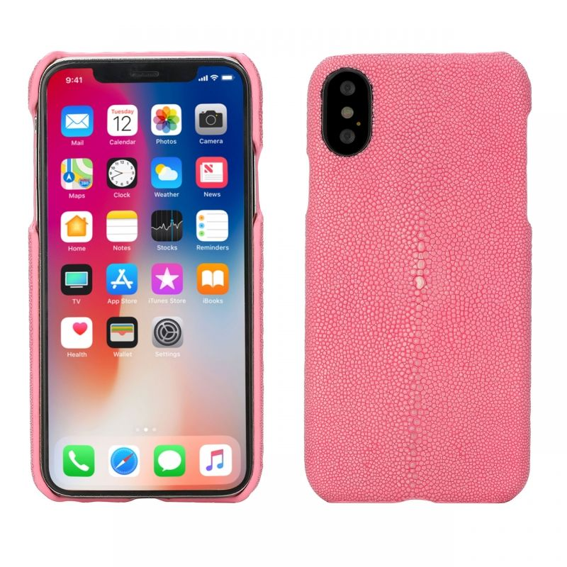 Coque Galuchat pour iPhone X - Rose