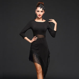 8e615502e Ladies new Latin dancing costume female adult oblique dress practice dress  dress Latin dance tassel skirt performance uniforms