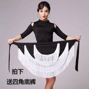 013091f2e female Latin Dance Performances Tassel Skirt Adult Children Practise Dance  Skirt Dance Fringe Skirt Latin Ballroom Costume