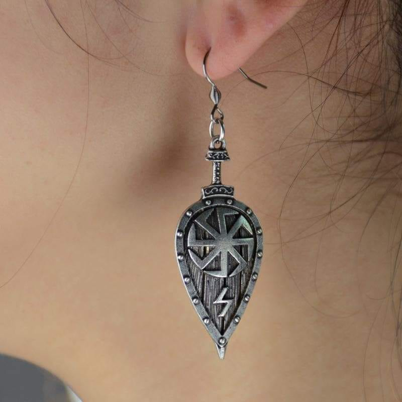 Handmade Viking Slavic Shield Earring