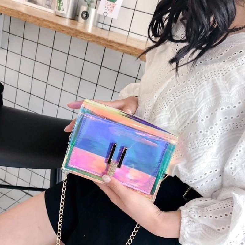 Transparent crossover shoulder bag