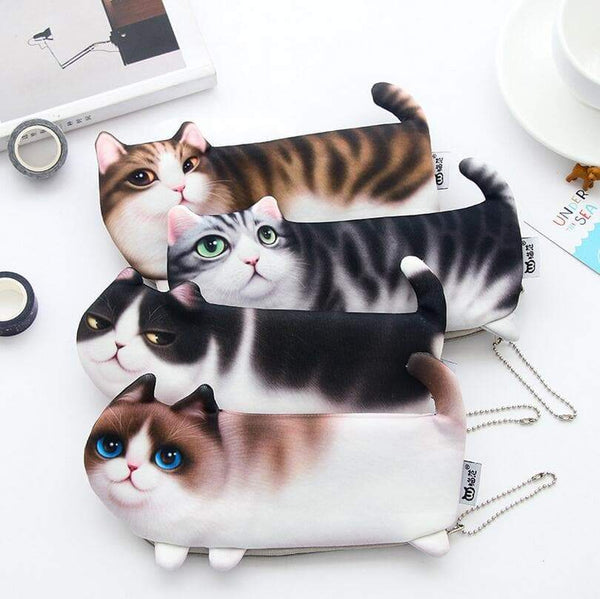 Cute Cat Face Printed Zipper Pencil case