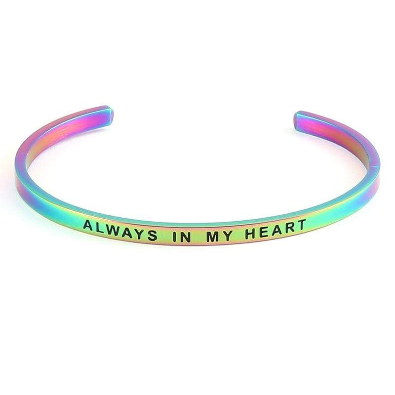 Rainbow Engraved Inspirational Quote Stainless Steel Bangle