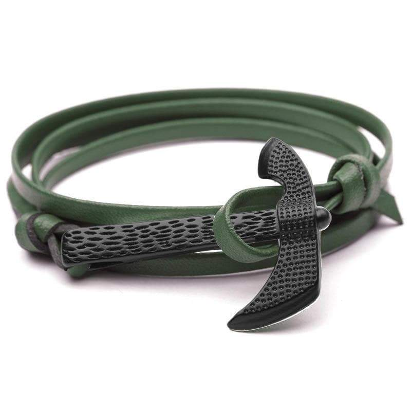 Men Leather Wrap Black Axe Hatchet Wristband