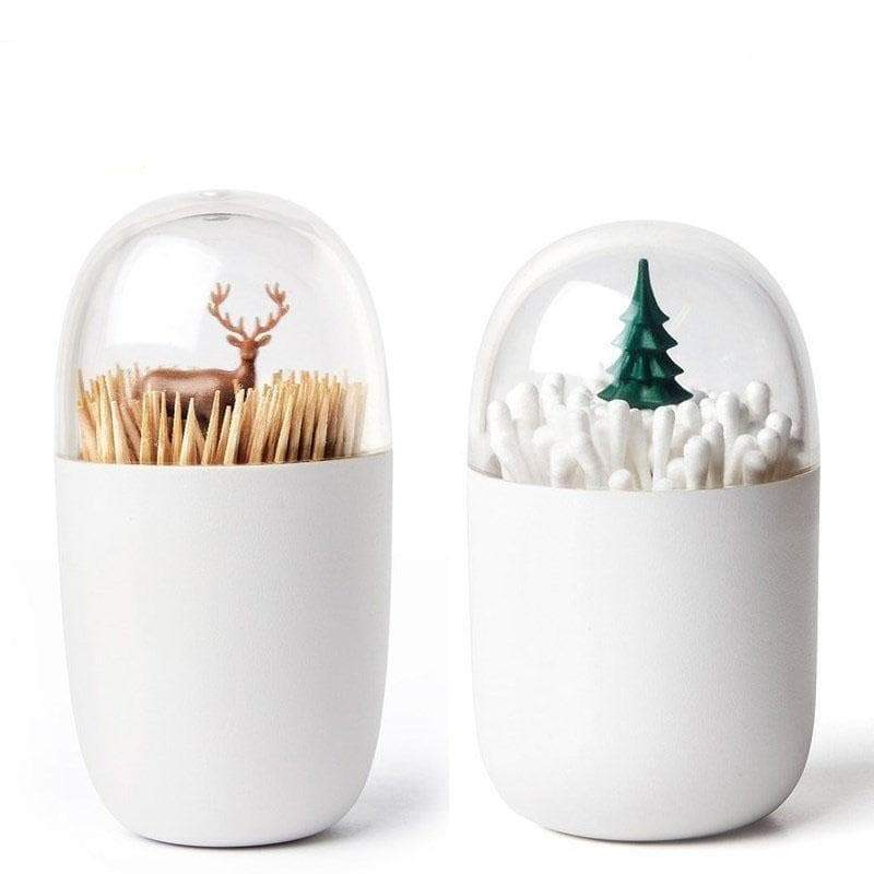Decorative transparent toothpick/cotton tip storage box