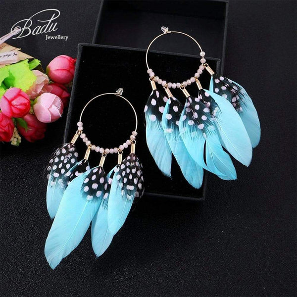 Boho Blue Feather Tassel Earrings