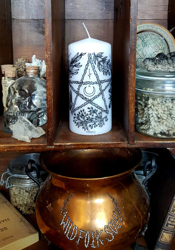 Bougie Herbal Pentacle blanche sans parfum