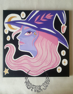 Toile originale Lil' Witch Under the Moon - Acrylique