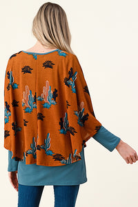T4441 DOUBLE LAYER PONCHO STYLE CACTUS PRINT SWEATER