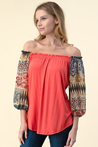 T5192 OFF SHOULDER AZTEC PRINT CONTRAST KNIT TOP