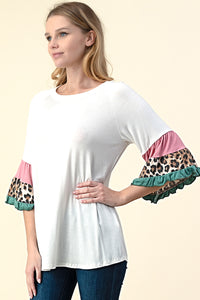 T5504 LEOPARD COLOR BLOCK TIERED BELL SLEEVE KNIT TUNIC