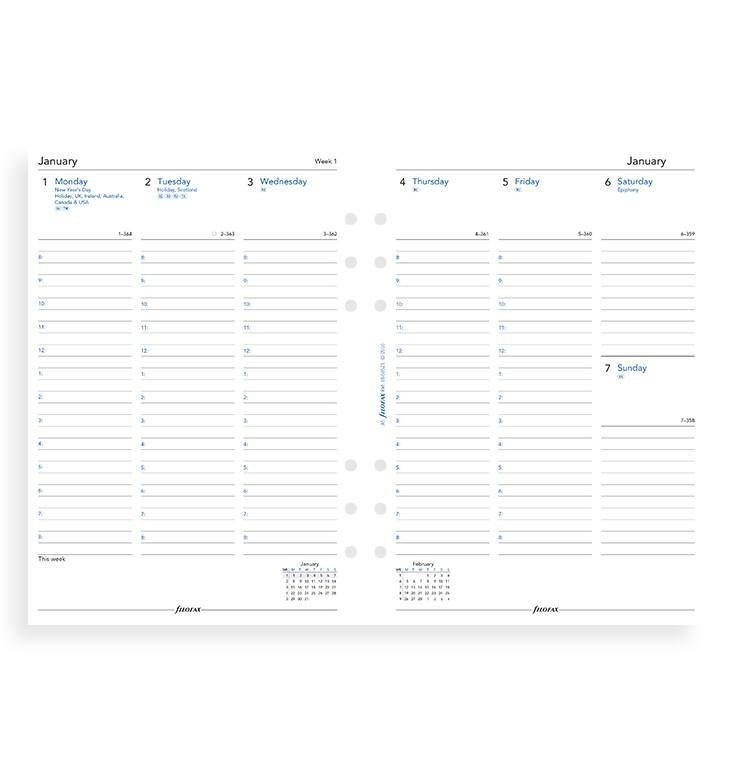Filofax A5 Week to View with Appointments 2020