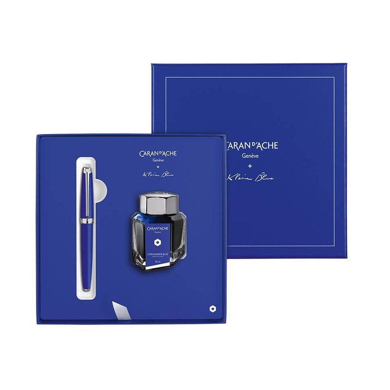 Caran d'Ache Léman Klein Blue Fountain Pen + Ink Bottle Gift Set - Laywine's