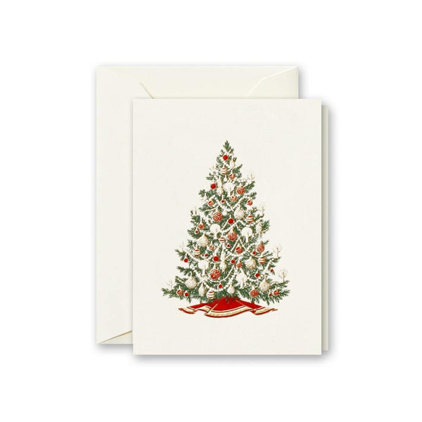 Crane Engraved Christmas Tree Box of 8 Cards - Laywine's