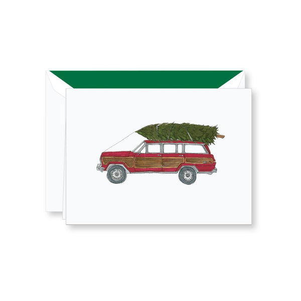Crane Jeep With Tree Box of 10 Cards - Laywine's