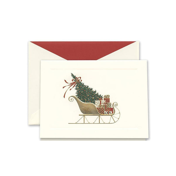 Crane Engraved Santa's Sleigh Box of 10 Cards - Laywine's