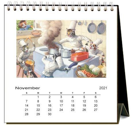 Found Image Press Desk Calendar, Crazy Cats, 2021