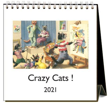 Found Image Press Desk Calendar, Crazy Cats, 2021 - Laywine's