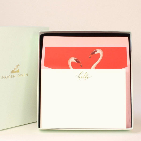 Imogen Owen Boxed Luxury Correspondence Flamingo Hello - Laywine's