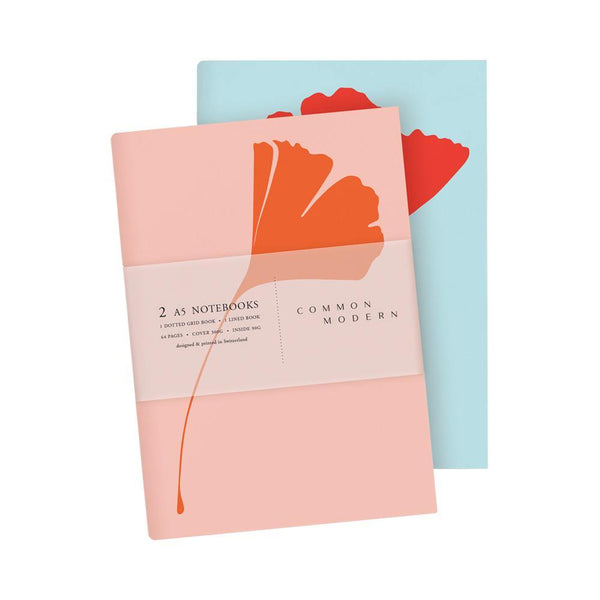 Common Modern Ginkgo Pop Pink/Blue A5 Notebook Duo - Laywine's
