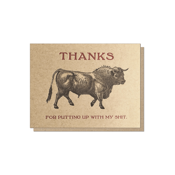 Guttersnipe Press Bull Thanks Card - Laywine's