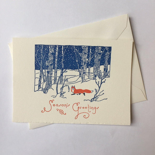 Saturn Press Snow Fox Box of 8 Cards - Laywine's