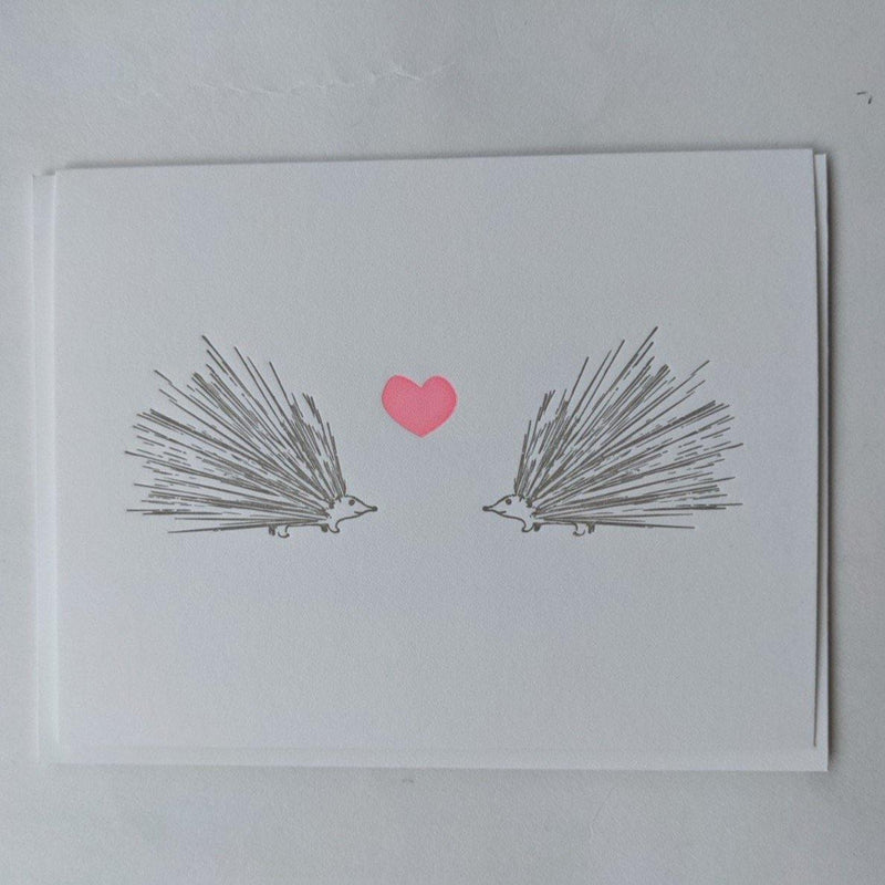 Quick Brown Fox Letterpress Porcupine Love Card - Laywine's