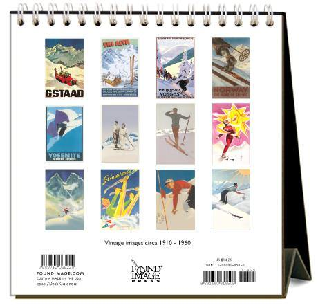 Found Image Press Desk Calendar, Skiing, 2021
