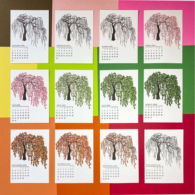 Quick Brown Fox Letterpress Cherry Tree Calendar 2021 - Laywine's