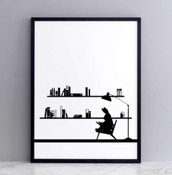 HAM Reading Rabbit Print - Laywine's